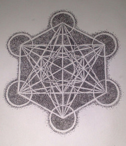 art-by-abbie:  metatrons cube geometric drawing dotting technique  2013
