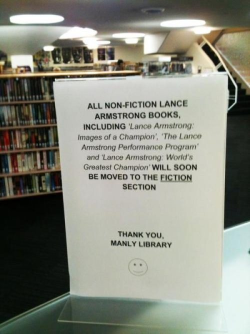 Library Burns Lance Armstrong Boom. Roasted.