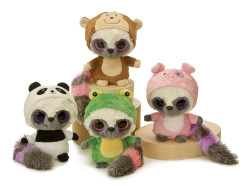 "The YooHoo & Friends ""WannaBes"" original collection featuring YooHoos dressed as frog, monkey, pig and panda"