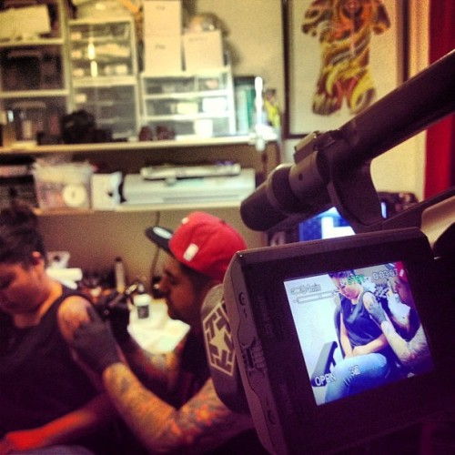 GoldenTouchTattoo has you covered #videoshoot by @OdinRock #filming #inaction #Tattooing #halfsleeve #tattoostudio #videocamera #LosAngeles #GetTattooed #AppointmentOnly #AllCUSTOMTATTOOING #fullcolortattoos #blackandgraytattoos  #tattooartist #tattooedgirlz