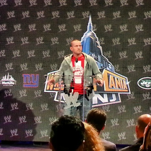My #wwe champ, @CMPunk, at the #wrestlemania press event. No urn, though! #wrestling