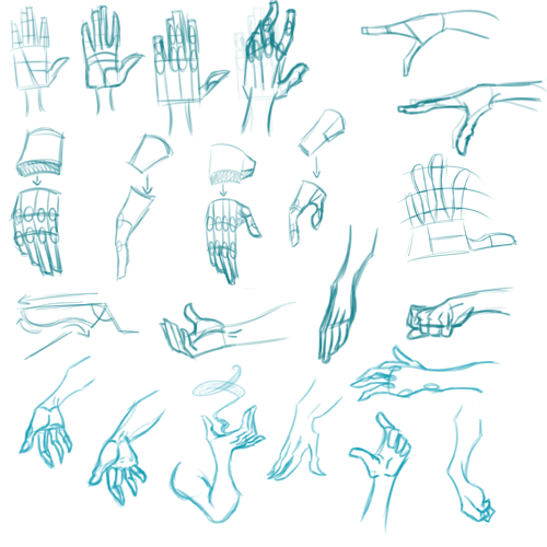 Hand practice! From that one tutorial I found on tumblr a while ago (I'll edit this post with the link if I can find it but right now I gotta dash) I'm gonna figure out how to draw these damn hands even if it kills me