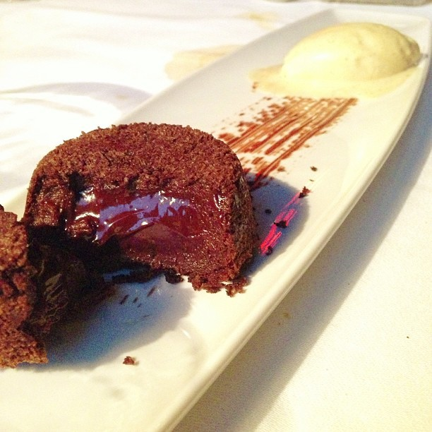 #Soft #Warm #Chocolate #Cake + #Vanilla #Icecream - #travel #dessert (at ZENZAKAN - Pan Asian Supperclub)