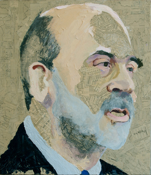 Ben Bernanke, Wall Street Journal collage and acrylic on canvas, 30 x 26 in, 2009 My Irrational Exuberance collages, including Ben Bernanke, are being shown at the Lionheart Gallery, 27 Westchester Avenue, Pound Ridge, NY through June 3rd. There is a reception on Saturday, May 18th from 4-6 pm. Lionheart also has a number of my paintings and collages.