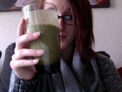 super smoothie: kale, strawberries, banana, pineapple, and greek yogurt =]