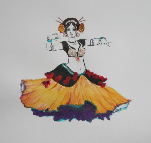 Eee!  More bellydance art! ^_^  *applauds excitedly and tries not to bounce*  This one's by ~@Contrapposto on DeviantArt.  ^_^ ♥ (Keep credits and links, please, so the artist can receive proper credit!  Thanks! ^_^)