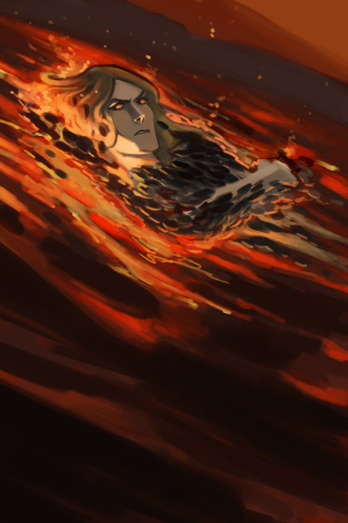 "Sauron taking a bath of lava.Because you know. When you're mad,you need a good bath of lava.""Ah,my master is a dork. I need something relaxing."" I like the whole lava thing,as much as Sauron is a creature of earth,fire and metal,he needs some nice warm place to live. Nice warm lava river somewhere in Angband. Actually,I'm just continue to test my new tablet x) May be I will finish this sketch later. Or may be not…"