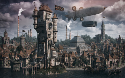 Steampunk Landscape by Vladimir Petkovic (on Behance)