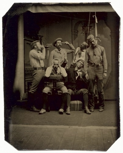 ca. 1875, [studio tintype of a staged group suicide]   via Luminous Lint, from the Andrew Daneman collection of American Tintypes
