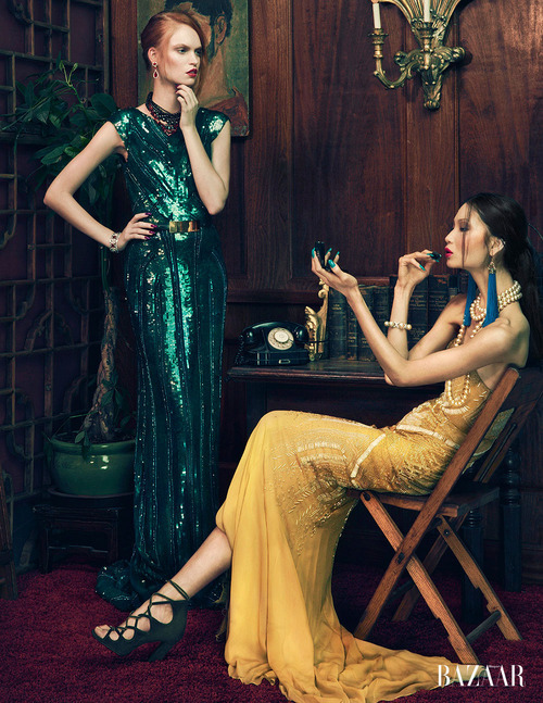 "stormtrooperfashion:  Kiki Kang, Li Ming and Luisa Bianchin in ""Evening Elegance"" by An Le for Harper's Bazaar Vietnam, December 2012 See more from this set here."