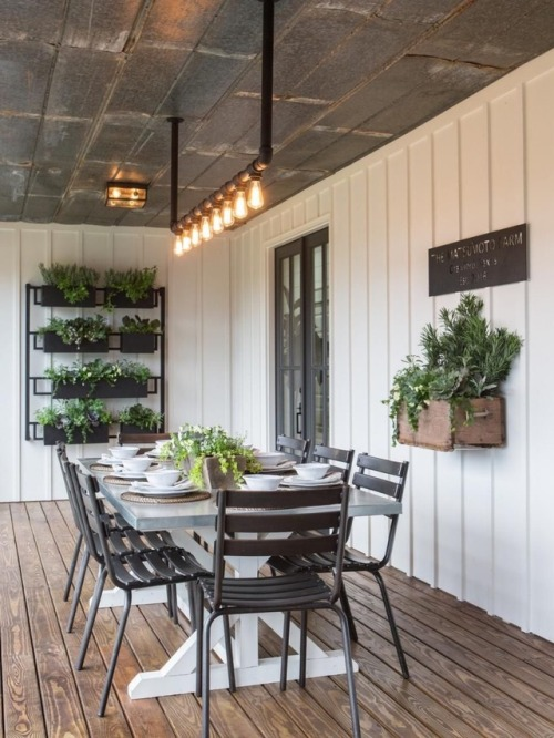 outdoor dining fixer upper deck porch house exterior