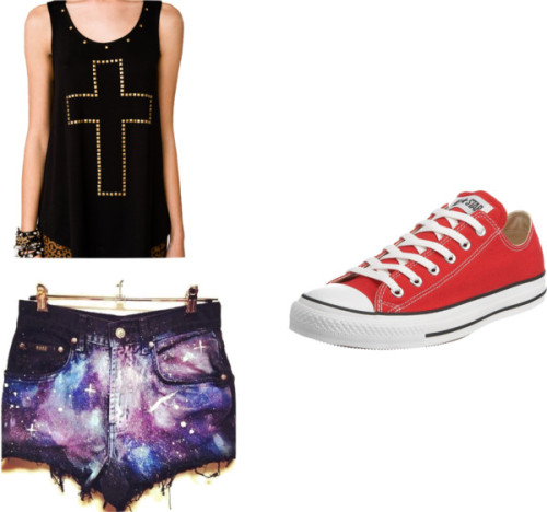 Sem título #301 por uma-directioner usando high waisted shortsForever 21 relax shirt / High waisted shorts / Converse red tennis shoes