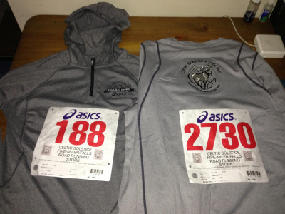 Our race shirts for the Celtic Solstice 5 miler on Saturday! It will be my first post-knee surgery race - almost 6 months to the day. I can't wait to get back out there and do what I love best: run in the early morning, on a new route, with a buddy. This time I'm fortunate to not just be running with 3,000 other athletes, but also with my super sweet boyfriend. He skipped a bachelor party to join me! Now that's love :D