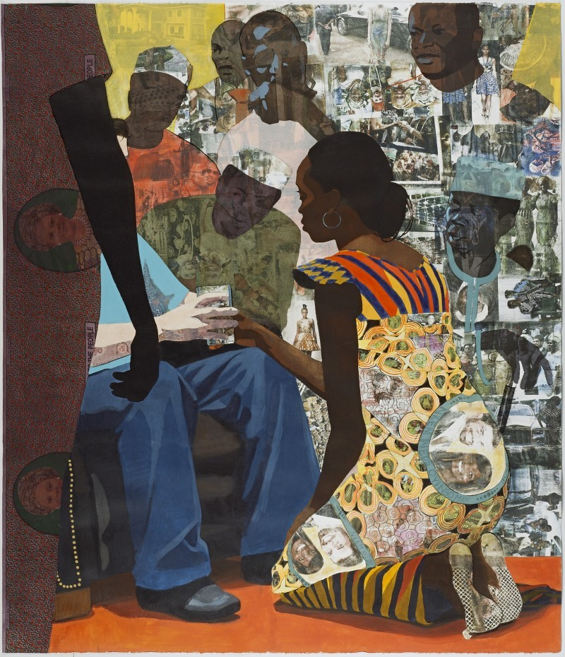theonlymagicleftisart:  (Njideka Akunyili) Wedding Portrait 2012 Acrylic, pastel, color pencils, marble dust, xerox transfers and fabric on paper 5.25 ft. × 4.5 ft.
