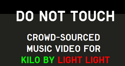 "thedailywhat:  Crowdsourced Project of the Day: ""Do Not Touch"" Who knew mouse pointers could be so mind blowing? The Dutch rock band Light Light unveiled a crowdsourced music video for their song ""Kilo,"" which tracks viewers mouse cursor paths and adds them to the video with each play. Check it out over at DoNotTouch.org!"