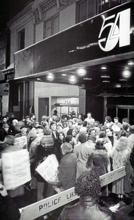 superseventies:  Crowds outside Studio 54, 1970s.