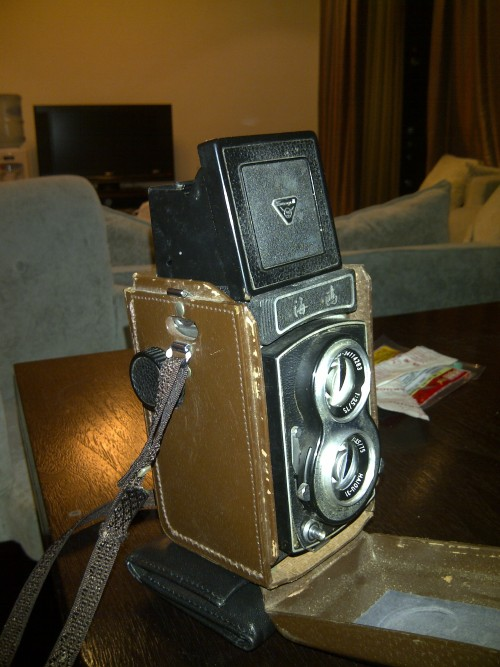 This is a bad picture of the camera I bought myself for Christmas. It's a Sea Gull 4B, expect to see some photos I've taken some time next week.