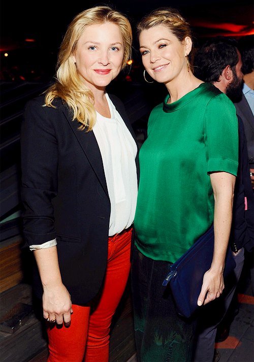 Jessica Capshaw and Ellen Pompeo attend Coach's 3rd Annual Evening of Cocktails and Shopping to Benefit the Children's Defense Fund hosted by Katie McGrath, J.J. Abrams and Bryan Burk at Bad Robot on April 10, 2013 in Santa Monica, California.