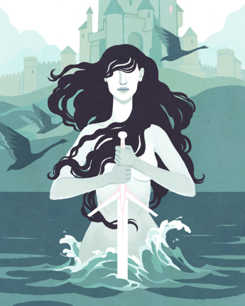 (via The Lady of the Lake by Kali Ciesemier : FICTION — LightGreyArtLabShop) Part of the FICTION section of the Girls: Fact Fiction exhibition, featuring 100 illustrators and designers who have portrayed their favorite women, heroines, and inspirations.