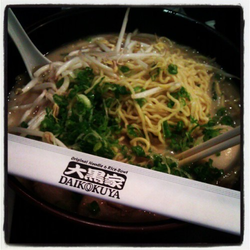 "Daikokuya: ""Crowded, boisterous ramen den. There's nothing that could really be described as ""décor"" here, other than its noodle joint vibe but no matter. It's the generous portions of their oh-so-delish ramen soup that are the focal point. Try to score a seat at the counter so you can watch the ramen-making magic happen…Noodles of just the right consistency and broth–get the Kotteri broth–with just the right amount of pork depth; put these two together and you have the best bowl of ramen we've tasted in a long time."" [Read more]  elizabethtran626:  Hour wait. Worth it! Extra noodles mofo cause a girls gotta eat! #ramen #daikokuya #japanese #jtown #dtla @chrissywussy @wandavoong @functionoverform (at Daikokuya)"