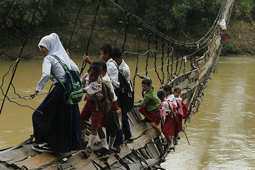 "This is what ""walking to school"" meant to children in Indonesia in 2012"