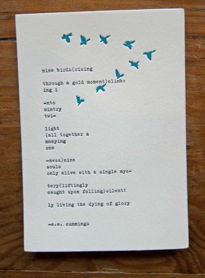 awriiter:  Letterpress Poem by e.e. cummings