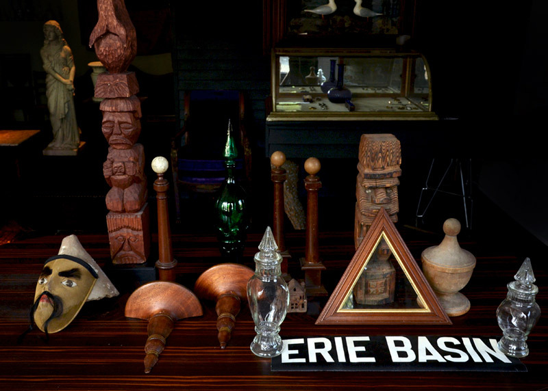 In the shop this evening. That Erie Basin banner on the table was a present from a friend, who found it in Baltimore. It's on canvas and was part of one of those rolling bus stop signs.  Back when Red Hook was called Erie Basin.