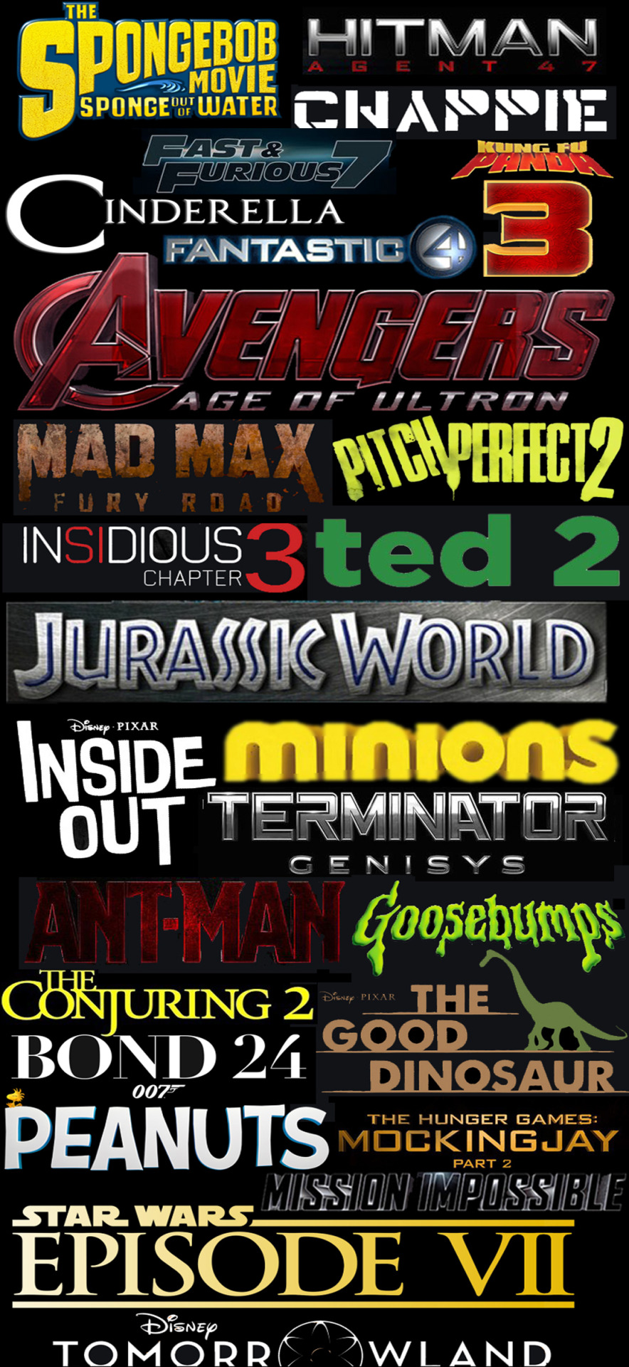 themovieguy1194:  2015 is gonna be a good year…  Yes. As long as you like sequels. And sequels of sequels. And sequels of sequels of sequels…
