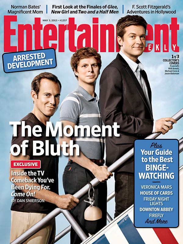 huffposttv:  entertainmentweekly:  This week in EW: Make yourself a breakfast of champions — vodka rocks and a piece of toast, perhaps — and check out our latest Arrested Development cover story, which will fill you in on the long-awaited revival of one of this century's most beloved cult comedies. As a bonus, we're celebrating the show's return with three collector's covers; find them all on our site.  OMG.