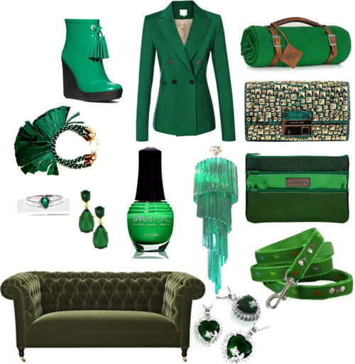 "Go Green By Jenny Bahn And the award goes to… emerald! Pantone, the global authority on color, just awarded this rich gemstone shade the honor of 2013's Color of the Year, following last year's deliciously bright choice, Tangerine Tango. Luxe and luscious, emerald is a color that can be easily incorporated into any wardrobe or home décor.  It's notoriously flattering, complementary to most skin tones, a fact that has not slipped past the design house, Alexander McQueen, who is using emerald quite liberally as of late. In the home, emerald imbues spaces with the academic intelligence of a well-stocked library or the rich comfort of a smoking room. Wear it on your fingernails, dangle it from your ears, hang it from the dining room ceiling — whatever you decide to do with emerald this coming year, you won't go wrong. And the next time you're scouring eBay for some fashion finds, don't forget to add the word ""emerald"" to your search query to go green in 2013. [MORE] Green with Envy by jlbahn featuring sparitual nail polish  Reiss / Michael Kors studded clutch purse / Emerald drop earrings / Elvira Sazesh bangle bracelet / SpaRitual nail polish / Mid-Century Mazzega Custom Emerald Green Chandelier at 1stdibs / Pratesi Wool Blanket with Leather Carrier / Coach Bina Rainboot / 32ct 3 Stone Natural Emerald Diamond Ring Size 7 Take A L K 
