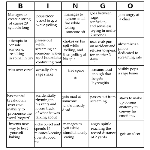 miraculoustang:  veggieblt:  karkat bingo  WE DID IT MAN BUT SOME ONE BEAT US TO THE PUNCH DANG