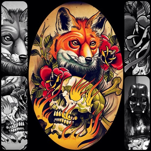 Print available at my bigcartel!! #tattoo #skull #darth #fox #print #bigcartel #marker #copics #art #design #markermasters #graphic #hasjtekzooi