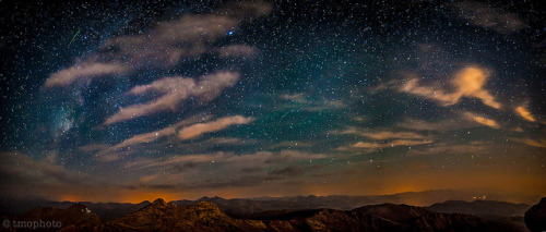 neptunesbounty:  Perseid meteor panoramic from the summit of Mt Evans by tmo-photo on Flickr.