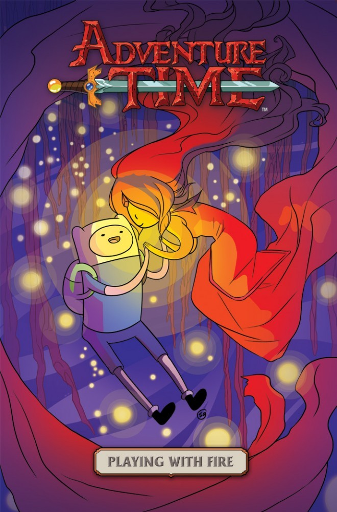 Take a Sneak Peek, Pre-order First Adventure Time Graphic Novel The show's premiere graphic novel, Adventure Time: Playing with Fire, will be released next Wednesday, May 15. Written by Danielle Corsetto and illustrated by Zack Sterling, the book follows Flame Princess as she's out to rescue Finn from the clutches of a dragon. To read more about the BOOM! Studios book, visit Wired.com. To place your pre-order now, head on over to BOOM!'s website.