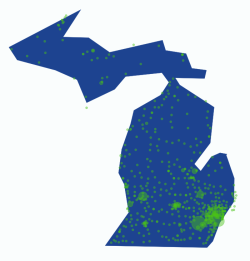 Map of Petition Signatures for Medicaid Expansion in Michigan I made this map based on the zipcodes of individuals who signed our petition on Change.org asking Governor Snyder to expand Medicaid health coverage (Medicaid Matters for Michigan). The Largest areas are easy to see Ann Arbor, Detroit (and Metro Detroit), Lansing, and Grand Rapids. The odd Michigan outline is from my family density mapping.  These areas also correlate with Michigan's largest population densities, but it is still awesome to see that our efforts covered nearly the entire state.