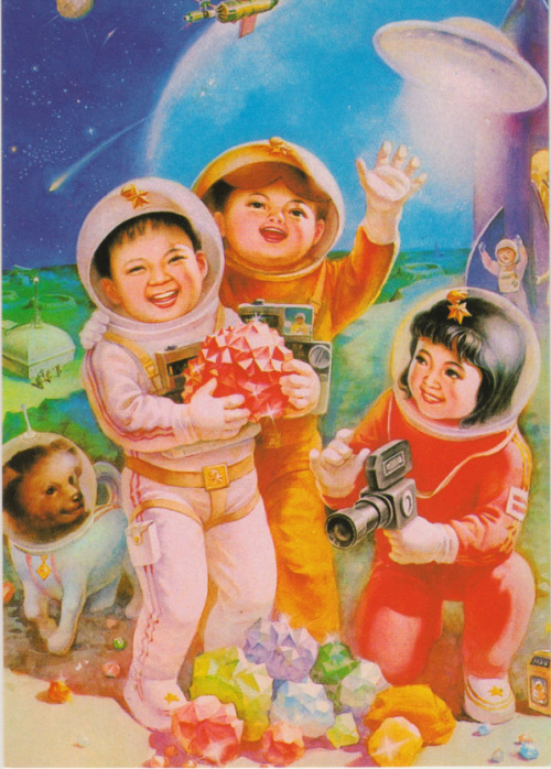 prophesyingbird:  Chinese Space Children posters  A dog in a space suit. Yes.