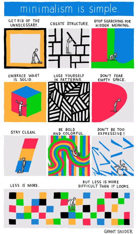 How to be a minimalist, from the always-brilliant Grant Snider, who has previously brought his visual wit to book-burning, introverts, and Haruki Murakami.