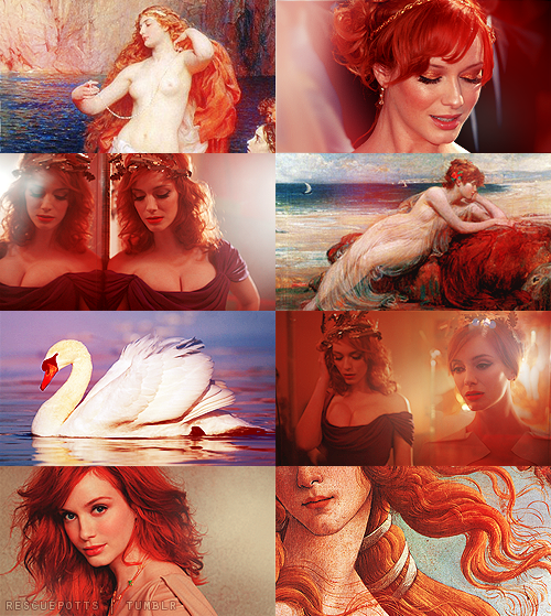 rescuepotts:  Greek Mythology Dreamcast  → Christina Hendricks as Aphrodite          «Aphrodite (i/æfrəˈdaɪti/ af-rə-dy-tee; Greek: Ἀφροδίτη) is the Greek goddess of love, beauty, pleasure, and procreation. She is also known as Cytherea (Lady of Cythera) and Cypris (Lady of Cyprus) after the two cult sites, Cythera and Cyprus, which claimed to be her place of birth. Myrtle, doves, sparrows, horses, and swans were said to be sacred to her. The ancient Greeks identified her with the Ancient Egyptian goddess Hathor.».