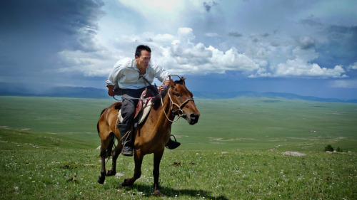 "Keywords: ""explorer"", ""gallops"" ""steppes of northern Mongolia,"" and ""Ghengis Khan's tomb."" File under: ""Badass."": Boston.com:        Research scientist and National Geographic Emerging Explorer Albert Lin gallops across the steppes of northern Mongolia as he searches for Genghis Khan's tomb and other archaeological sites. (Photo by Mike Hennig)"