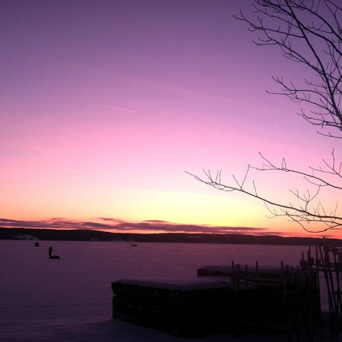 An Early Start: Ice Fishermen head out for the day, Chautauqua Lake 2/18/13 @chq #ChautauquaInstitution #Chautauqua #sunrise #cold #morning #ice  #winter #sport #fishing #color #beauty #pink #orange #nature #frozen #landscape