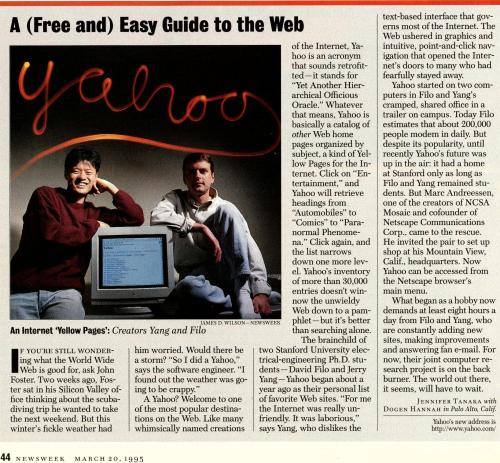 Yahoo! Incorporated On This Date In 1995.  Did You Know It (YAHOO) Was An Acronym?