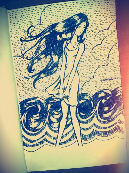 The Sea #illustration #sketch #anime #girl #sea
