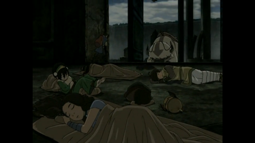 luckyboots:  Dude. I just noticed this. Toph sleeps with her feet off the ground. She sees with her feet. That's how she closes her eyes. XD
