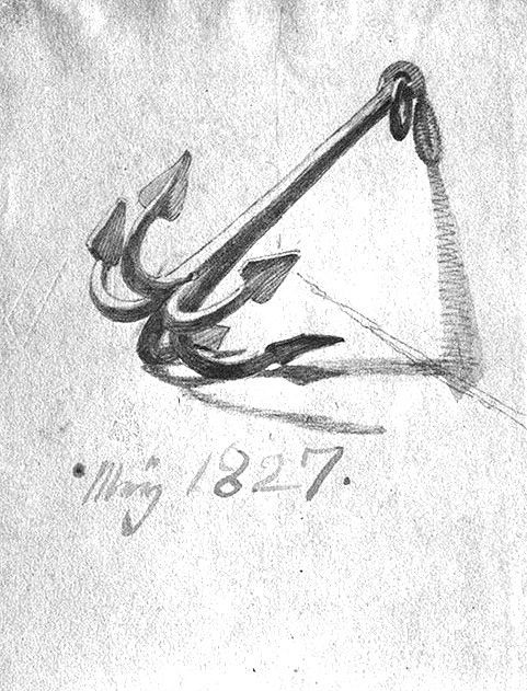 """ Anchor Sketch — 1827 ""  …..  Artist:  Friedrich"