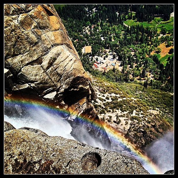 Yosemite Falls was pouring a rainbow into the Valley the other day. (at Yosemite Falls Overlook)
