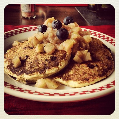 Sunday brunch was indulgent (but plant strong).  Corn cakes with blueberries topped with warm baked diced apple with cinnamon.  I drizzled a tbsp of maple syrup on top and went to town!  #vegan #corn #pancake #blueberry #apple #breakfast #plantstrong