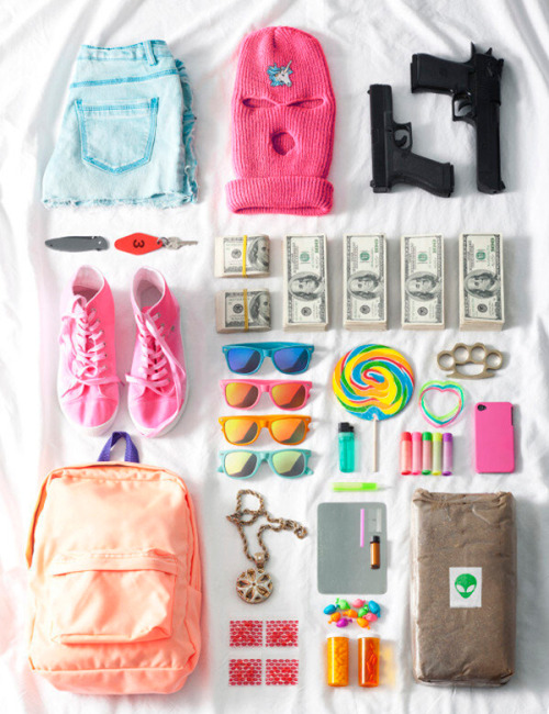 inside happy bad girl's backpack.