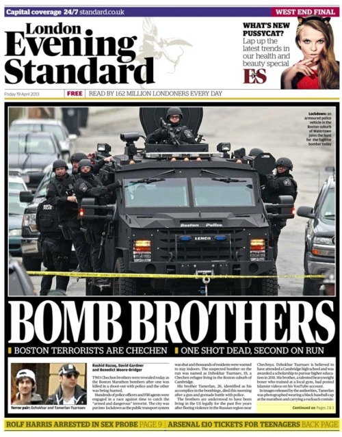 Front cover of tonight's London Evening Standard