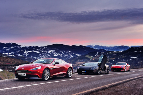 automotivated:  Cooling down. Ferrari F12 Berlinetta, Lamborghini Aventador & Aston Martin Vanquish. Italy (by Dean Smith (EVO Magazine staff photographer))