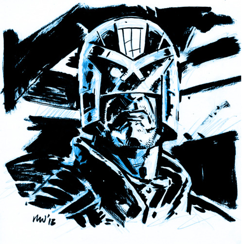Judge Dredd Sketch. Did this today while watching along with the movie (which I really enjoyed).